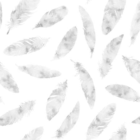 Hand painted watercolor feathers seamless pattern on white background. Textured black and white boho decoration. Pastel ornament for wrapping paper, fabrics and textile.