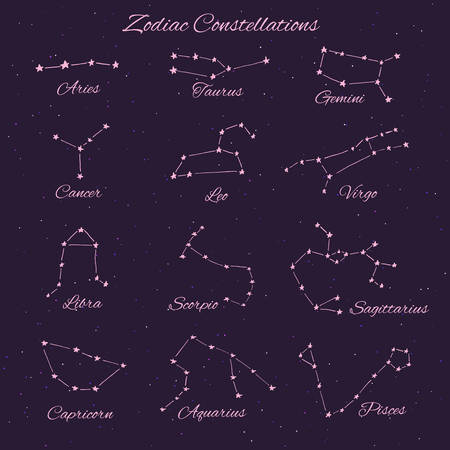 Hand drawn vector zodiac constellations