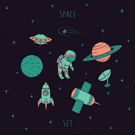 Hand drawn vector space elements: cosmonaut, satelites, rocket, planets, falling star and UFO. Colorful cosmos set on the starry background.
