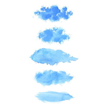 Set of hand painted blue vector watercolor brush stroke textures for your design. Isolated on the white background. 矢量图像