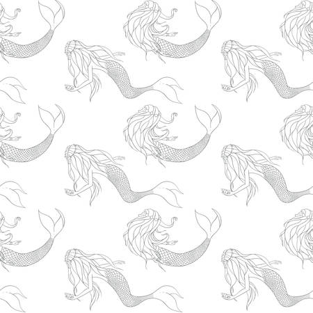 Beautiful mermaids contours vector seamless pattern. Underwater mythical creatures on the white background.