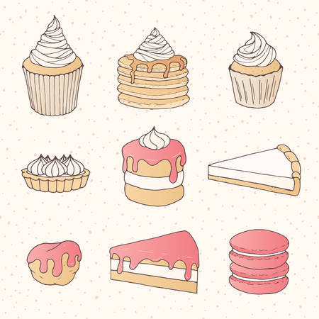 Vector pastry collection of cakes, pies, tarts, muffins and eclairs with pink strawberry topping. Hand 