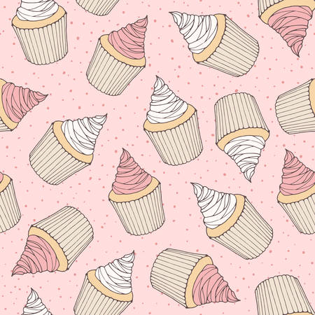 Hand drawn vector seamless pattern with cupcakes and muffins with pink cream topping. Sweet bakery on the 