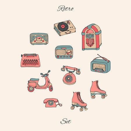 Vector retro set with antique tech, scooter, juke box, radio, typewriter, roller skates and vinyl record 
