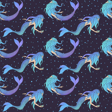Beautiful mermaids vector seamless pattern. Underwater mythical creatures on the dark blue polka dot background. 矢量图像