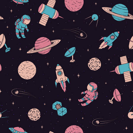 Vector seamless pattern with cosmonauts, satelites, rockets, planets, moon, falling stars and UFO in sketchy style. Cosmic elements on the starry dark background. Space travel. 矢量图像