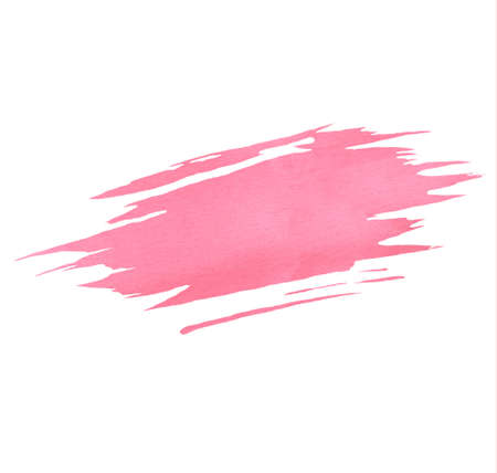 Hand painted pink watercolor brush texture isolated on the white background. Usable for cards, invitations and more.
