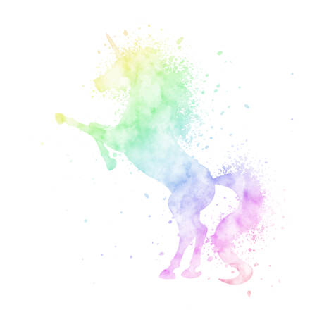 Watercolor unicorn silhouette painting with splash texture isolated on white background. Cute magic creature vector illustration in rainbow colors. 矢量图像