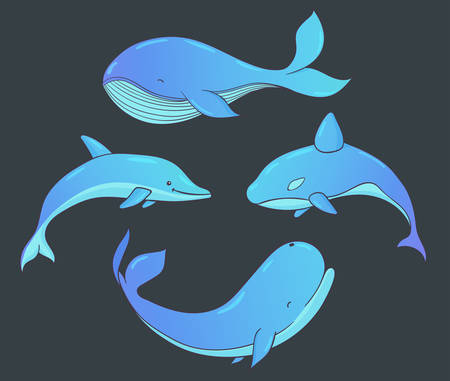 Set of vector underwater life with whales and dolphin. Sea creatures isolated on the dark background. 矢量图像