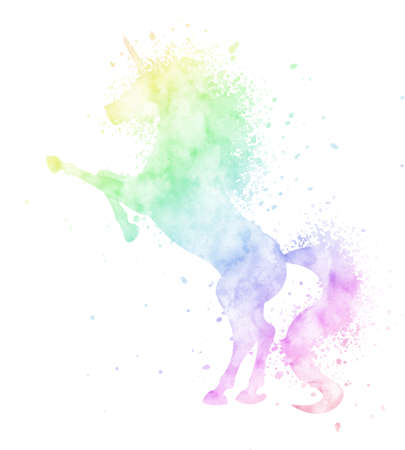Watercolor unicorn silhouette painting with splash texture isolated on white background. Cute magic creature illustration in rainbow colors.
