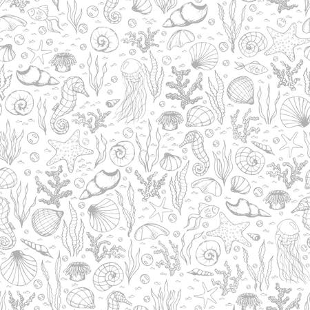 Hand drawn vector sea life seamless pattern with seahorses, fish, starfish, corals, seashells and jellyfish gray outline on the white background. 矢量图像
