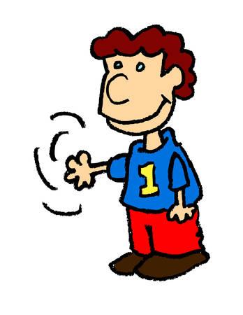 A cartoon illustration of a young boy waving Ilustração