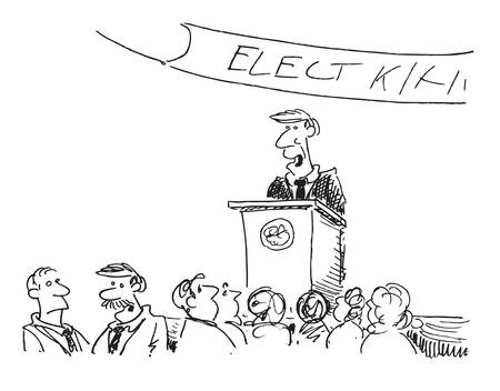 cartoon of a political speech Ilustrace