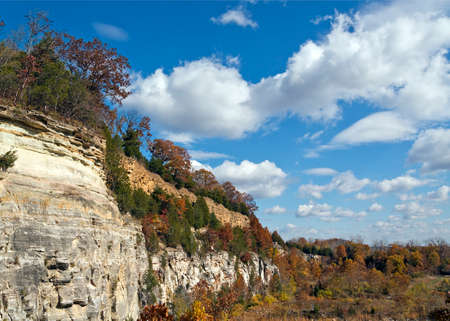 landscape of limestone cliffs on a cloudy day