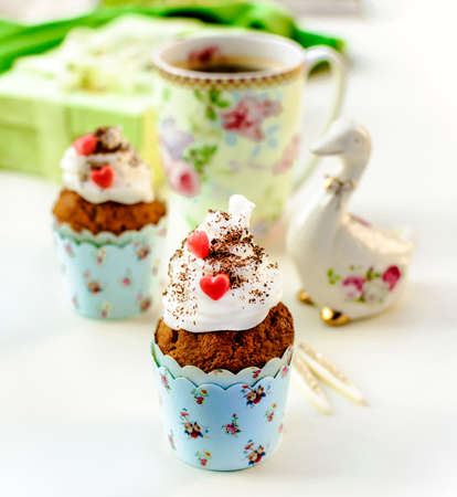 saint valentine   s day: Cupcakes and coffee in Easter or Saint Valentine s Day style Stock Photo