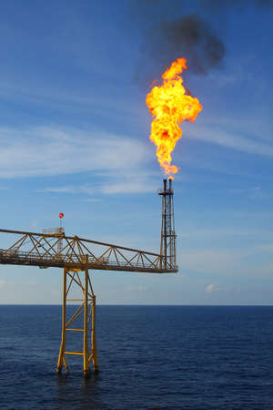 exhaust gases: Burn flare Stock Photo