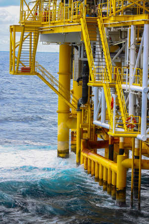 petrochemical: Oil and Gas Producing Slots at Offshore Platform Stock Photo