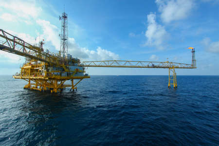 Oil and gas platform in offshore,World energy, The construction for petroleum society photo