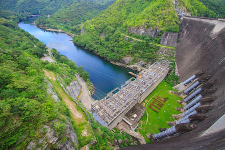 The power station at the Bhumibol Dam in Thailand  The dam is situated on the Ping River Stock Photo - 22907827