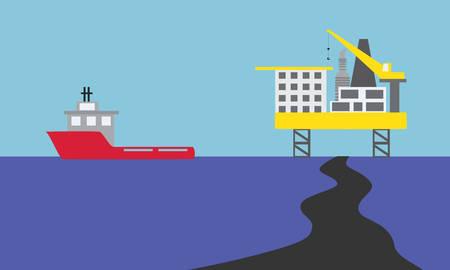 oil spill: fuoriuscita di petrolio in mare, caso peggiore di piattaforma petrolifera e rig Vettoriali
