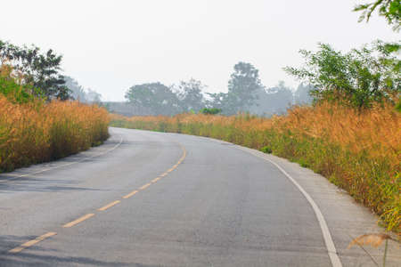 Winding Mountain Road in Chiangmai, Thailand, Beautiful country road  photo