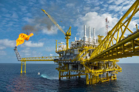 Oil and gas platform with gas burning, Power energy  photo