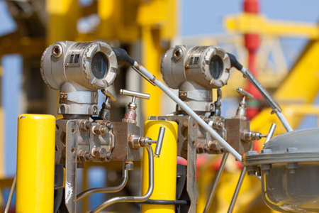 Pressure transmitter in oil and gas process , send signal to controller and reading pressure in the system Stok Fotoğraf - 24425599