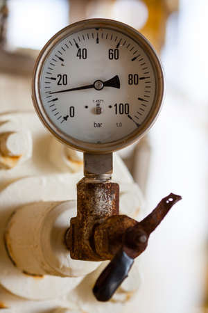 airtight: Pressure gauge for measuring pressure in the system, Oil and gas process used pressure gauge to monitor pressure condition inside the system  Stock Photo