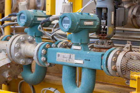 Flow meter for measure oil , liquid and gas in the system, The meter to measure flow condition in oil and gas process Stock Photo - 24425633
