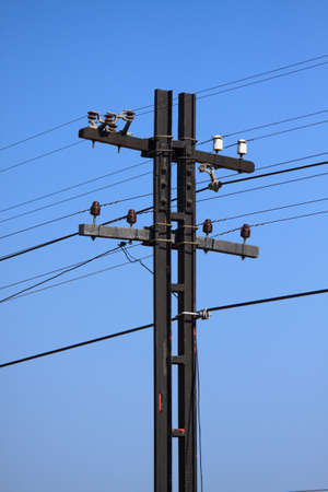 High voltage poles,Mono pole transmission line tower,The power energy in the city  photo