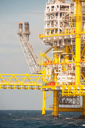 Oil and gas platform in the gulf or the sea, The world energy, Offshore oil and rig construction