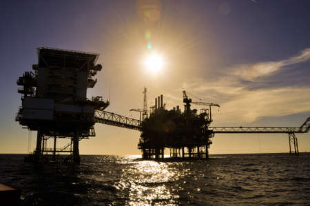 Oil and gas platform in the gulf or the sea, The world energy, Offshore oil and rig construction Stock Photo - 29656539