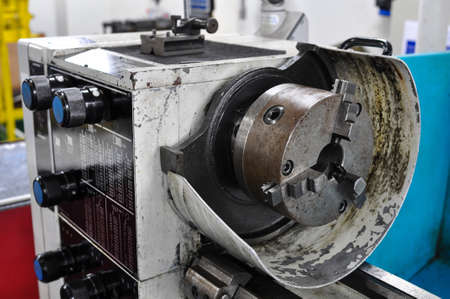 lathe machine in a workshop, Part of the lathe photo