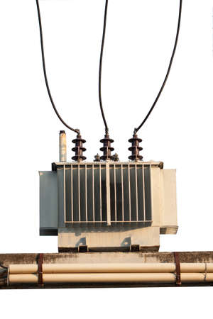 reduces: Industrial reduces power station  Power transformer on ceramic and porcelain insulators wire line transmission electron