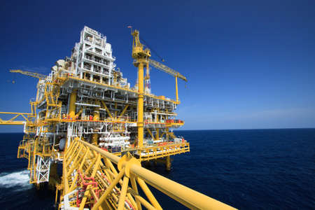 Oil and gas platform in offshore industry, Production process in petroleum industry, Construction plant of oil and gas industry  heavy work