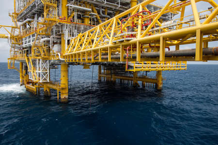 Offshore oil and gas industry, Construction in offshore, Oil and gas plant for production energy photo