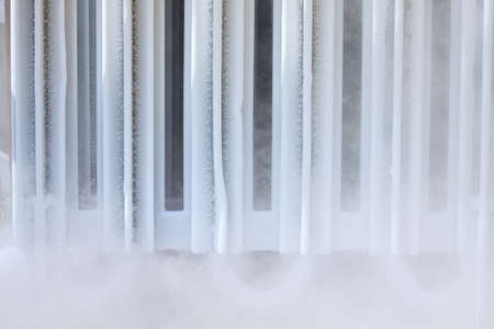 vapour: Ice on tubing when supply nitrogen to process, Container with liquid nitrogen, lot of vapour, cool ice on tube in industry jobs