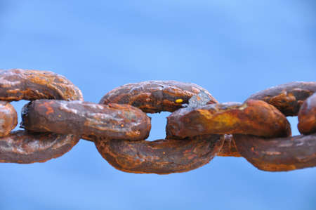 rusty chain: Chain damaged from many rust, An Old Rusty Naval Chain Stock Photo