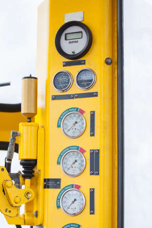 Meters or gauge in crane cabin for measure Maximun load, Engine speed , Hydraulic pressure , Temperature and fuel level , Support crane driver to know the condition of crane, Many gauge or meters monitor all condition which important when crane operated w photo