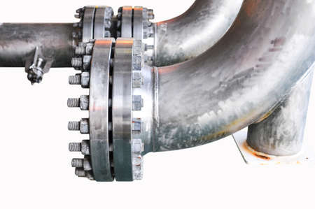 Metal pipe flanges with bolts on an isolated background, Pipe line in oil and gas industry and installed in plant or process.