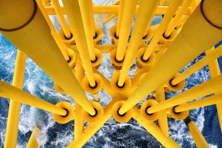oil and gas industry: Oil and Gas Producing Slots at Offshore Platform, The platform on bad weather condition.,Oil and Gas Industry