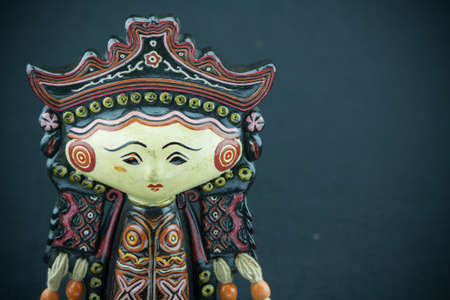 String Puppet Myanmar tradition dolls, Wooden dolls on black background photo