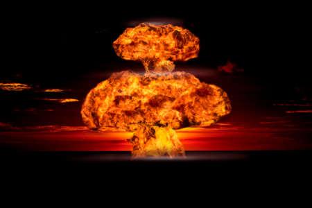Nucleaire explosie in een buitenomgeving. Symbool van bescherming van het milieu en de gevaren van kernenergie