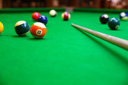 leaning over: Snooker ball on snooker table, Snooker or Pool game on green table, International sport. Stock Photo