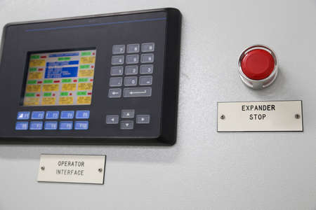 control panel lights: Close up of an Electric meter,Electric utility meters for an apartment complex or offshore oil and gas plant