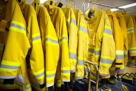 firefighter suit and equipment ready for operation. Stock Photo