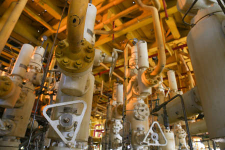 well platform: Rigs offshore Oil refinery. Well head station on the platform. Stock Photo