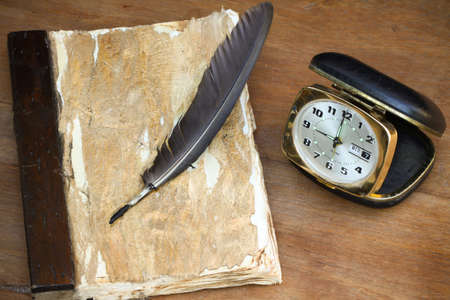 recorded: vintage memories on wooden background, Pocket book for recorded memories.