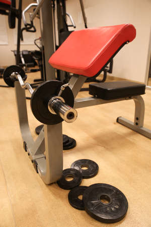 Room with gym equipment in the sport club, sport club gym , Health and recreation room. photo