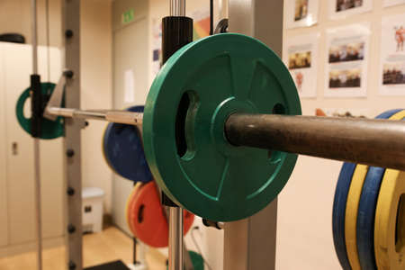 recreation room: Room with gym equipment in the sport club, sport club gym , Health and recreation room. Stock Photo